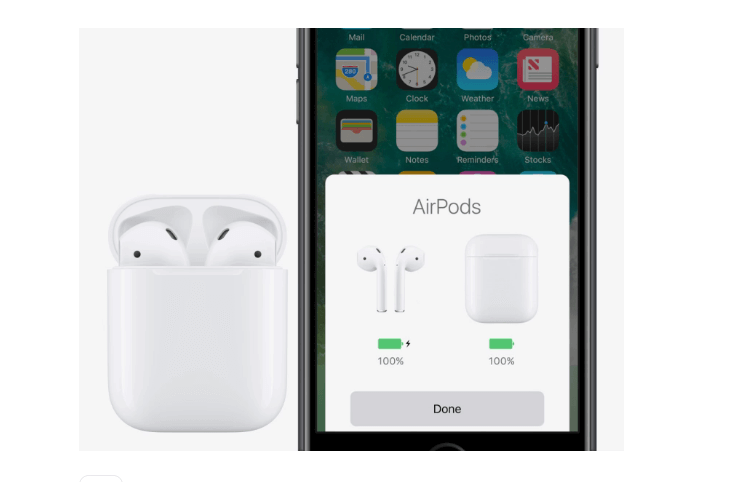 Checking the battery status of Airpods